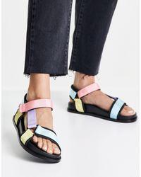 Pimkie Multicolour Strap Flatform Sandal - Black