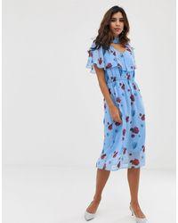 Y.A.S Geweven Midi-jurk Met Klaprozenprint - Blauw