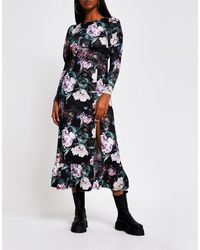 River Island Mutton Sleeve Floral Midi Dress - Black