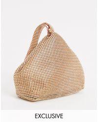 Glamorous Exclusive Grab Bag With Rhinestones - Metallic