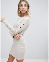 Missguided - Ribbed Popper Detail Bodycon Dress In Sand - Lyst