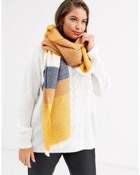 ASOS Lange Geweven Oversized Sjaal Met Mosterdgele Strepen - Geel