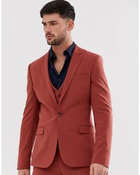 ASOS – Extrem enge Anzugsjacke - Rot