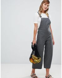 Monki Gray Check Wide Leg Overalls