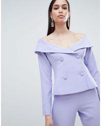 Lavish Alice Bardot Double Breasted Tuxedo Jacket - Blue