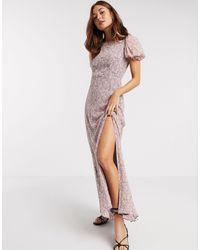 River Island Фиолетовое Платье Макси С Цветочным Принтом И Короткими Рукавами -фиолетовый - Многоцветный