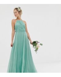 ASOS - Bridesmaid Pinny Maxi Dress With Ruched Bodice - Lyst