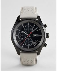 BOSS - 1513562 Grand Prix Chronograph Leather Watch In Brown - Lyst