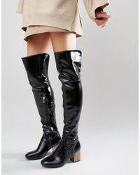 ebabc32e3b2 Daisy Street - Detailed Heeled Black Over The Knee Sock Boots - Lyst