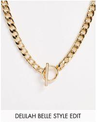 ASOS - Золотистое Ожерелье Из Цепочки С Крупными Звеньями И Т-образной Застежкой - Lyst