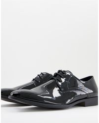 Moss Bros Moss London Patent Lace Up Shoe - Black