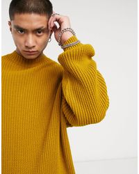 ASOS Knitted Oversized Rib Turtle Neck Sweater - Yellow