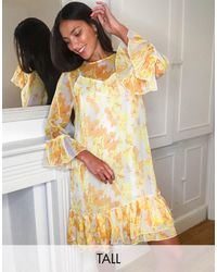 Y.A.S Smock Dress With Mesh Overlay - Multicolour