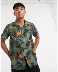 Slydes – Schwarzes Strandhemd mit Palmen-Print - Grün