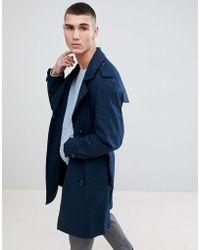 Mango Man Trench Coat In Navy - Blue