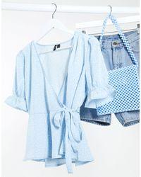 Vero Moda Blusa a portafoglio blu a fiorellini con maniche a sbuffo