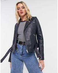 Barneys Originals Barney's Originals Emma Real Leather Jacket - Blue