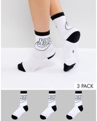 Nike - 3 Pack Crew Socks With Large Logo - Lyst