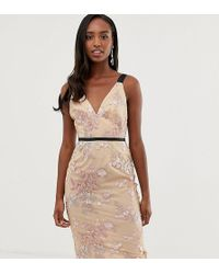 ASOS - Asos Design Tall Occasion Pencil Midi Dress In Floral Embroidery - Lyst