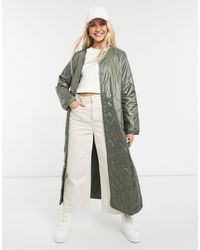 ONLY Extra Long Quilted Jacket - Green