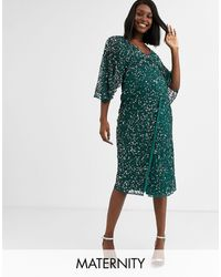 Maya Maternity Bridesmaid Delicate Sequin Wrap Maxi Dress - Green