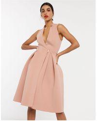 ASOS Vestito da prom midi stile smoking con zip rosa mogano - Multicolore