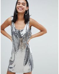 Weekday - Sequin Dress In Silver Sequin - Lyst