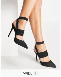 ASOS Wide Fit Whistling Elastic High Heels - Black