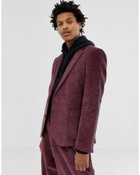 ASOS Cord Relaxed Slim Blazer In Purple
