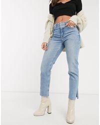 TOPSHOP – Jeans mit geradem Bein und geschlitztem Saum - Blau