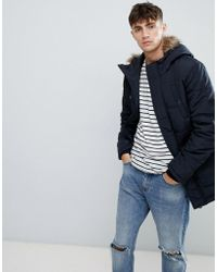 Esprit - Parka With Faux Fur Hood In Navy - Lyst