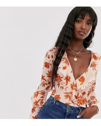 Missguided - Missgudied Tall Wrap Front Bodysuit In Floral - Lyst
