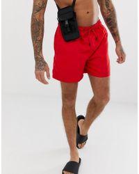 Jack & Jones Intelligence Swim Shorts With Contrast Lining - Red