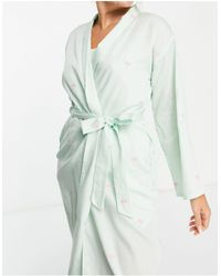 Y.A.S Esclusiva - Vestaglia lunga con palme ricamate color menta - Verde
