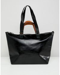 Stradivarius Contrast Handle Shopper - Black