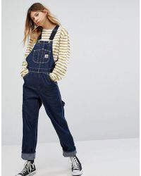 Carhartt WIP - Oversized Dungarees In Denim With Contrast Straps - Lyst