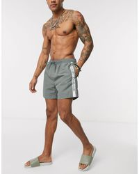 Calvin Klein Серые Шорты Для Плавания С Фирменной Лентой -серый