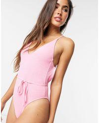 TOPSHOP Розовый Слитный Купальник Из Жатой Ткани С Поясом -розовый Цвет