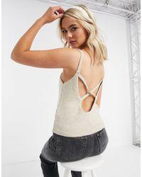 ASOS Co-ord Fluffy Cami With Cross Back Detail - Natural