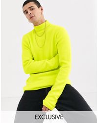 Collusion Ribbed Roll Neck Jumper - Yellow