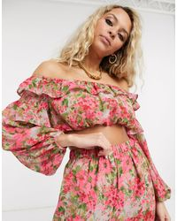 Reclaimed (vintage) Inspired Floral Co-ord Top - Multicolour