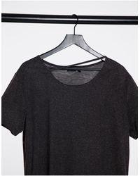 ASOS – Langes, locker sitzendes T-Shirt mit abgerundetem Saum und Zierausschnitt - Schwarz