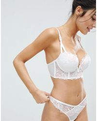48e43cd26deda Lyst - ASOS Bridal Faye Satin   Lace Up Underwire Bustier Bra in White