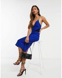 Vesper - Синее Облегающее Платье Миди С Бретельками -голубой - Lyst