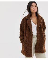 ONLY Longline Teddy Coat - Brown