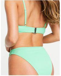 Reclaimed (vintage) Inspired Recycled High Waisted Tanga Bikini Bottom - Green