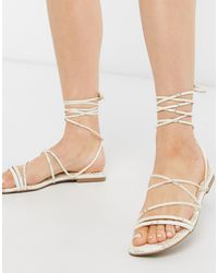 Miss Selfridge Snake Print Strappy Sandals - White
