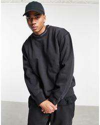 """adidas Originals - Окрашенный Свитшот В Рубчик Черного Цвета """"premium Sweats""""-черный - Lyst"""