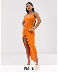John Zack One Shoulder Asymmetric Midi Dress With Thigh Split - Orange