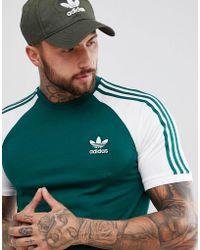adidas Originals - Adicolor Raglan California T-shirt In Green Cw1206 - Lyst
